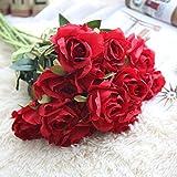 Flores Artificiales, Xinan Rosas de Seda Flor de Novia Ramo de Bodas Decoración del Hogar (Rojo)