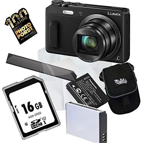 1A Photo PORST Jubiläums Angebot Panasonic Lumix DMC-TZ58EG-K Schwarz+Ersatzakku+Display-Schutzfolie+SD 16 GB Speicherkarte+Tasche+Mikrofasertuch