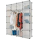 Regalsystem 20 Boxenfächer Steckregal Kleiderschrank DIY Garderobe Schuhregal Kunststoffboxen in transparent