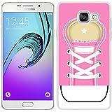 funda carcasa para Samsung Galaxy A5 2016 zapatilla cordones color rosa borde blanco