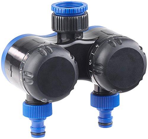 Royal Gardineer Wassertimer: 2-Fach-Wasserverteiler mit mechanischer Bewässerungsuhr, bis 120 Min. (Zeitschalter für Bewässerung) - Mechanische Wasser Timer