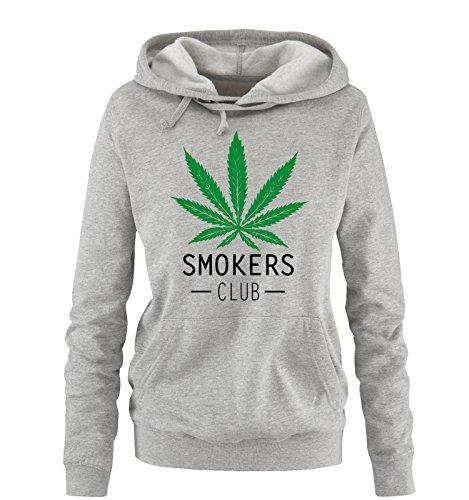 Comedy Shirts - SMOKERS CLUB - Damen Hoodie - Grau/Schwarz-Grün Gr. L