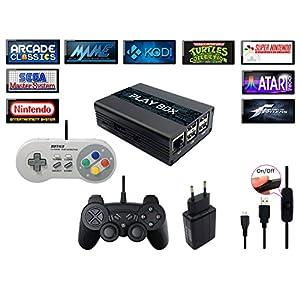 Konsole Retro PlayBox, Emulator und Media Center – HDMI – SNES, Megadrive, Sega, Nintendo, Mame, FBA, Kodi, Raspberry PI3, 2x Kontroller inkl