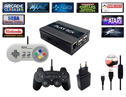 Consola Retro PlayBox, Emulador y Media Center - HDMI - Emulador de SNES, Megadrive, Sega, Nintendo, MAME, FBA, KODI, Raspberry PI3 - Incluye 2 Mandos