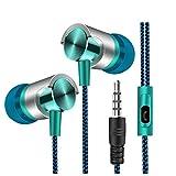 Kopfhörer In ear headphone mit 3.5mm Kabel von hoher Qualität Sport Sannysis Kabel Kopfhörer mit Mikrofon, Kopfhörer für Handy und MP3Wiedergabe von Musik, Kopfhörer mit Kabel für iPhone, Samsung, Huawei, Xiaomi, MP3, PC, mehrfarbig