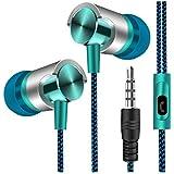 auriculares in ear headphone con cable 3.5mm de alta calidad deportivos Sannysis auriculares cable con micrófono, auriculares para móvil y mp3 reproducir música, auriculares con cable para iphone, samsung, huawei, xiaomi, mp3, pc (Azul)