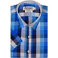 Arihant Men's Checkered Half Sleeves 100% Cotton Regular fit Formal Shirt (AR763902_Blue_Size::38)