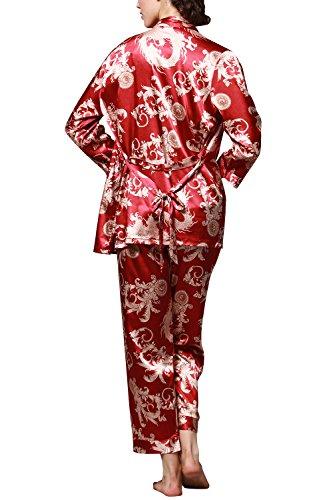 Dolamen Femme Pyjamas, Femmes Ensemble de Pyjama Satin Hiver, 3-in-1 Luxe & Lingerie Satin Ensemble pyjama en, Manche Longue & Pantalon alon Longue Rouge