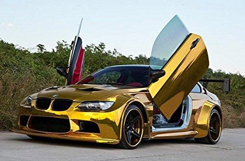 [15,32€/ m²] 30CM X 152CM AUTO MOTO FILM FEUILLE AUTOCOLLANT CHROME GOLD