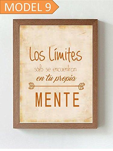 """Cuadro impreso con frase motivadora """" Los límites sólo se encuentran en tu propia mente"""". Elige dimensión, color del marco y modelo."""