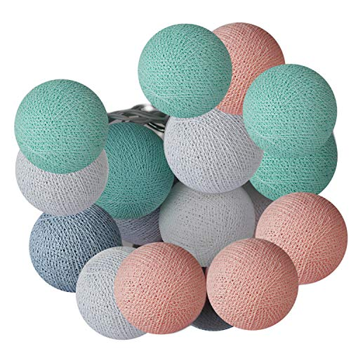 ART-CRAFT LED Stimmungs Textil-Lichterkette batteriebetrieben mit 20 handgefertigten Baumwollkugeln Leuchtfarbe pastell grün - rose -weiss