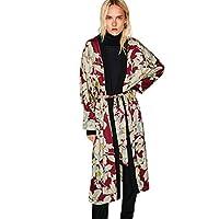 Yukong Womens Boho Floral Printed Side Slit Kimono Cardigan Oversized Shawl Tops Blouse with Sashes (XL, Red)