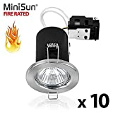 Pack Of 10 - MiniSun Fire Rated Brushed Chrome GU10 Ceiling Downlights