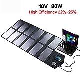KANGLE Solar-Ladegerät 18V 80W Solar Panel Dual 5V USB + 18V DC Ausgang Wasserdicht Faltbare Solar Panel Outdoor-Ladegerät Für 12V Autobatterie, Laptop, Tablet, iPhone, Ipad