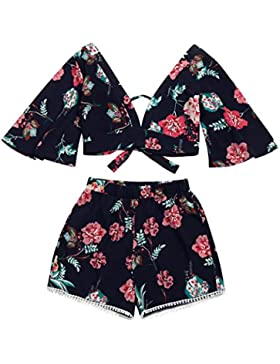 HUI.HUI Blusa Casual Para Mujer Tops Shorts V Collar Beachwear Botanical Print Conjunto de Dos Piezas