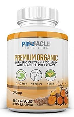 Organic Turmeric Curcumin Capsules 180 - 600mg - Curcumin Piperine Root Black Pepper Curcuma Longa Extract Strength from Pinnacle Nutrition