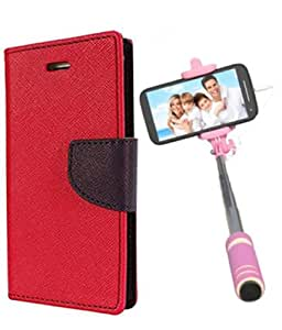 Aart Fancy Diary Card Wallet Flip Case Back Cover For Samsung E5 -(Red) + Mini Aux Wired Fashionable Selfie Stick Compatible for all Mobiles Phones By Aart Store