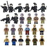 BOROK 24Stück Mini Figuren Set SWAT Team Polizei Soldaten Minifiguren Bausteine Spielzeug Adventskalender Inhalt für Kinder