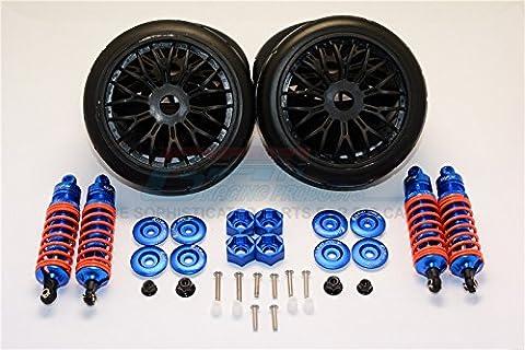 Traxxas Slash 4x4 & Slash 4x4 LCG Tuning Teile Aluminium Rally Racing Dampers And Tires - 4Pc Set Blue