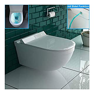 Shower Toilet/Wall-Mounted Toilet with Bidet/taharet Function Made from Sanitary Ceramic with thermoset Toilet seat Including Soft-Close Function Matches GEBERIT