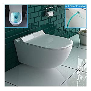 Inodoro suspendido con bidé y función de bidé de cerámica sanitaria con asiento de inodoro de Duroplast, incluye función…