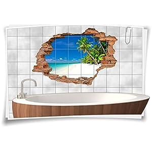 Fliesenaufkleber Fliesenbild Fliesenaufkleber Wanddurchbruch Strand Palmen Meer, 75x50cm, 15x20cm (BxH)