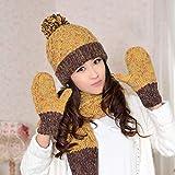 CHAXIA Mütze Schal Handschuh Sets Winter 3-teiliges Set Weiblich Geburtstag Geschenk Haarballen Bequem Weich Mode Mischfarbe (Farbe : Gelb)