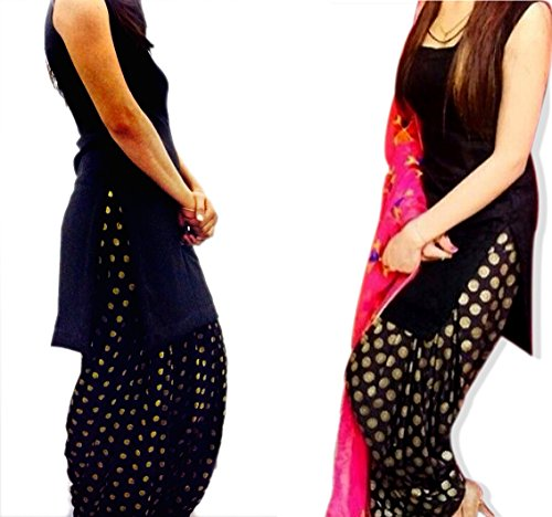 punjabi suits Dress material - black patiala salwar suit - banrasi fabric salwar with phulkari dupatta