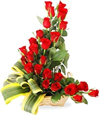 FloraZone Marvelous Basket Arrangement of Red Roses Same Day Delivery