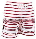 Luvanni Herren Badeshorts Beachshorts Boardshorts Badehose Schwimmhose Männer Gestreift Streifen Streifenmuster Weiss Rot