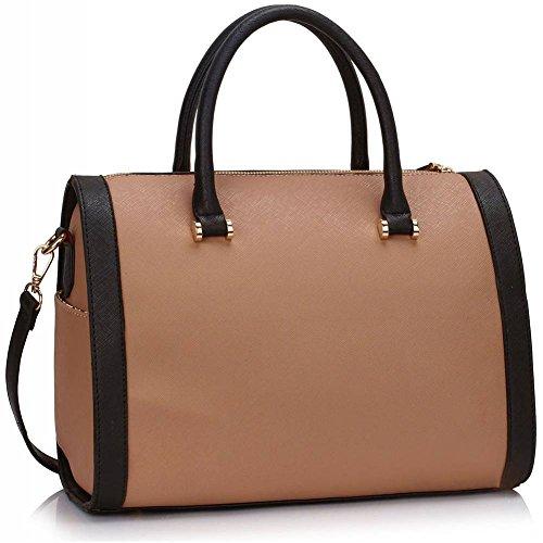 TrendStar Etoile Dames Epaule Sacs A Main New Designer Style Faux cuir Sac D'Encavateur Black & Nude