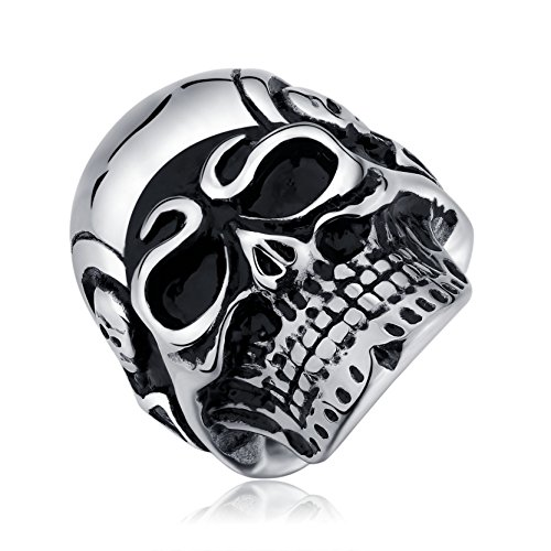 Cooler Schädel Ring 316L Edelstahl Biker Ringe für Männer Gothic Band Geburtstagsgeschenke für Jungen