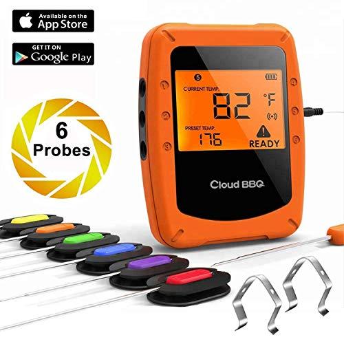 Funk Grillthermometer, Bluetooth Barbecue Thermometer, Digitales Wireless Bratenthermometer mit 6 Sonden, LCD Display und Magnetic Design, Unterstützt IOS, Android für Küche, Grill, Backen