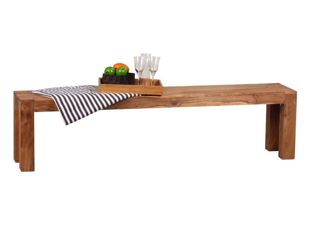 WOHNLING, Esszimmer, WL1.323, Sitzbank Massiv Holz Sheesham 160 X 45 X 35  Cm Design Holz Bank Natur Produkt Küchenbank Landhaus Stil Dunkel Braun: ...