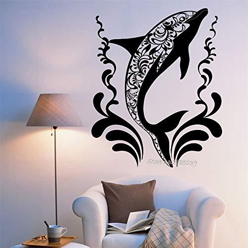 Neueste kreative delphin wandaufkleber vinyl diy selbstklebende ozean ornament wandbild wandtattoos aufkleber wohnzimmer dekor 2 56 * 77 cm