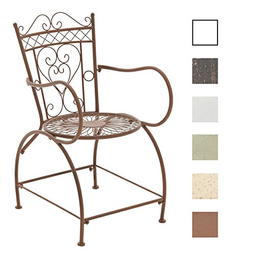 CLP Gartenstuhl Sheela im Jugendstil | Metallstuhl mit geschwungenen Armlehnen | Antiker handgefertigter Gartenstuhl aus Metall erhältlich Antik Braun