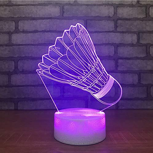 3D Nachtlicht,Fernbedienung Kinder Touch Button Home Decor Leuchten Usb 3D Led Nachtlichter Visual Badminton Modellierung Schlafzimmer Beleuchtung Schreibtisch Tischlampe