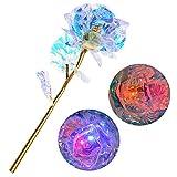 Souarts Kunstblumen Galaxy Rose Beleuchten Goldfolien Blumenstrauß Love Forever Geschenk Muttertag Hochzeit Valentinstag Geburtstag Jahrestag Weihnachten