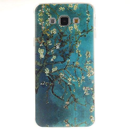 Samsung Galaxy A8 Hülle, Hozor Gemaltes Muster Transparent Kante Silikonhülle Ultra Slim Weich TPU Silikon Kratzfeste Handyhülle Schutz Case Backcover - Pflaumenbaum