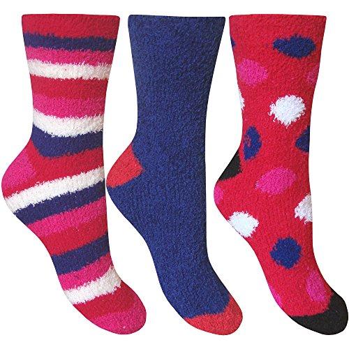 Womens-Fluffy-Stripes-Polka-Dot-Co-Zee-Thermal-Socks-3-Pair-Pack