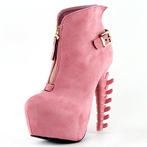 Show Story Gr¨¹n/Pink schnalle Zip hoch oben knochen Heel Platform kn?chel stiefel,LF80620 Babyrosa