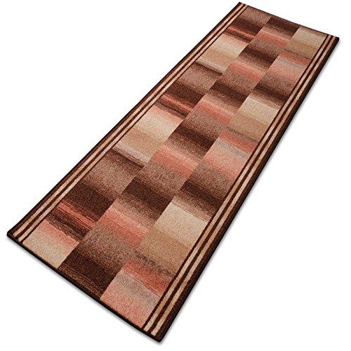 Teppichläufer Ikaria rost 16804 Teppich Läufer Brücke Flur Meterware in 44 Größen, 3 Farben, rutschsicher, 80 cm breit - Rost Farbe, Teppiche