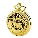 TREEWETO taschenuhr mit kette herren gold doppelabdeckungen römische ziffern retro uhr hirsch rentier taschenuhren mechanisch pocket watch