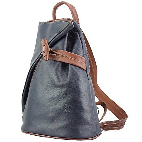 c02e0be6ec121 ... Rucksack-Tasche und Schultertasche Fiorella mit vielen Taschen aus echtem  Leder aus Italien Dunkelblau  ...