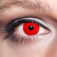 Lente de contacto, color blanco, tipo zombi, vampiro, demonio, para Halloween, incluye estuche