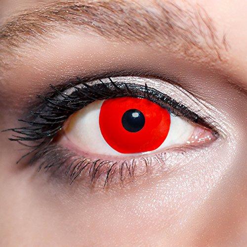 KwikSibs farbige Kontaktlinsen, rot, Zombie, weich, inklusive Behälter, K505, BC 8.6 mm / DIA 14.0 / -1,50 Dioptrien, 1er Pack (1 x 2 Stück)