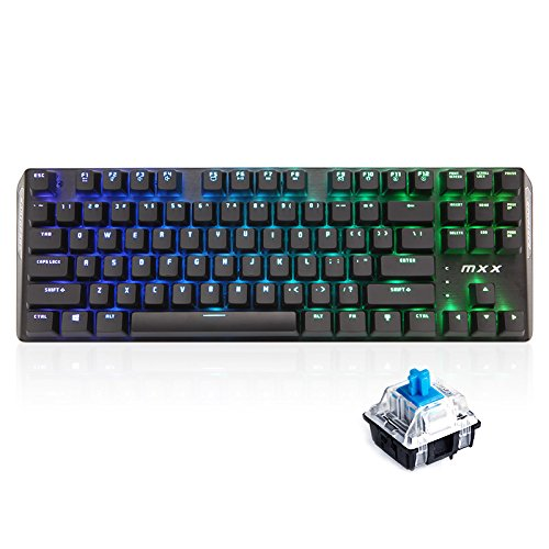 RantoPad MXX Gaming-Tastatur mechanisch, QWERTY, 87Tasten RGB-Blue
