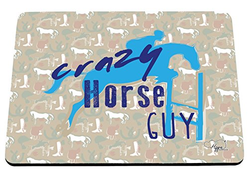 512BHo95BSL BEST BUY UK #1Hippowarehouse Crazy Horse Guy Equestrian Pattern printed mouse mat pad accessory black rubber base 240mm x 190mm x 60mm (Brown and Green Pattern) price Reviews uk