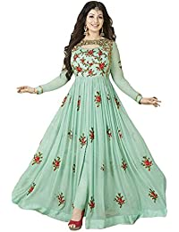 Dealbazaars Festival Mega Sale Offer Georgette Rama Embroidered Semi Stitched Salwar With Dupatta