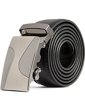 zolimx Cinturón Para Hombres, Cuero Genuino Automático Correa Hebilla Cinturones Para Traje Para Jeans, Ropa Casual...